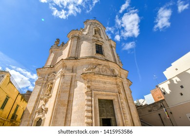 Matera, Italy - September 23 2018: The medieval Chiesa del Purgatorio or Church of the Purgatory in Matera, Italy
