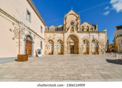 Matera, Italy - September 24 2018: The Romanesque San Giovanni Battista Parish church, one of the most important churches in Matera, located outside the historical center of Matera, Italy