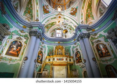 Matera, Italy - September 25 2018: The ornate, baroque interior of the Church of the Purgatory in Matera, Italy