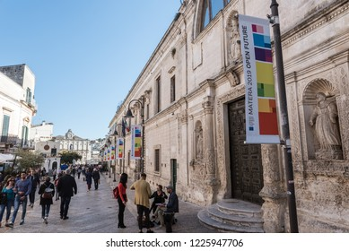 MATERA, ITALY - SEPTEMBER 30, 2018: Street of the city which will be European Capitol of Culture in 2019.