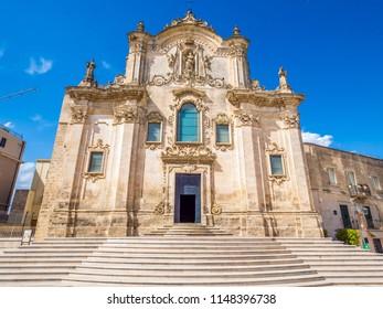 MATERA, IT - Jul 30, 2018: Church of San Francesco d'Assisi, in Matera, historic center, UNESCO World Heritage Site, European Capital of Culture 2019 (wide)