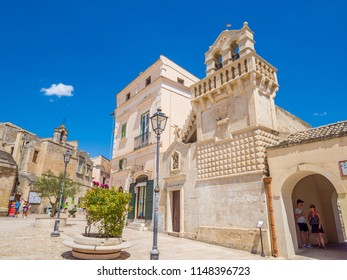 MATERA, IT - Jul 30, 2018: Piazza Vittorio Veneto, hypogeum square in the historic center, of Matera, UNESCO World Heritage Site, European Capital of Culture 2019 (wide)
