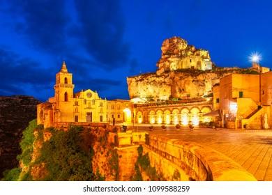Matera, Sasso Caveoso, Italy: Night view of the San Pietro Caveoso church and Santa Maria de Idris and San Giovanni in Monterrone in Sassi du Matera