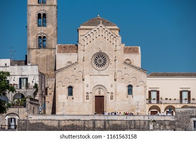 Matera, South Italy, Basilicata, Cathedral church on Piazza Duomo in historical centre Sasso Caveoso of old ancient town of Matera, European Capital of Culture for 2019, UNESCO World Heritage