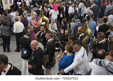 Matera,Italy- September 16, 2017:Waiting for the procession in honor of Sant'Eufemia in the square in front of the Cathedral of Irsina, Matera