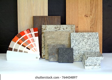Material pattern parquet, natural stone, tiles, wooden planks, color card for apartment building, Renovation interior work