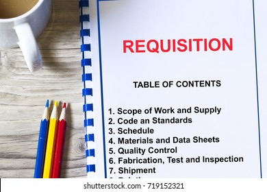 Material requisition concept- with topics on a cover sheet of a lecture.