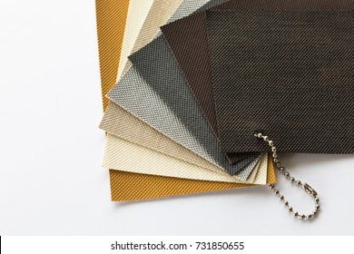 Material selection for interior design, Fabric sample on white background isolated.