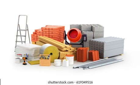 materials for construction. 3D illustration
