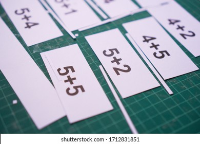 Materials for teaching children, Addition cards for a Math lesson.