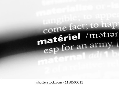 materiel word in a dictionary. materiel concept.