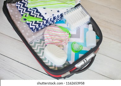 Maternal bag with things in maternity hospital.