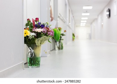 maternity hall way filled with flowers for the new mothers