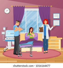 Maternity hospital flat composition with young parents two newborn kids and doctor figurines  illustration