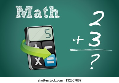 math blackboard and modern calculator illustration design over white