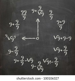 Math clock with all nines on chalkboard