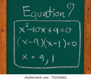Math equation,exponent and multiplication on the chalk board with wood frame. Numerical calculation using logarithm method. Education concept. Close up and blur. For background and design.