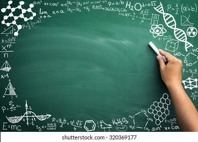 math formulas on a blackboard with copy space