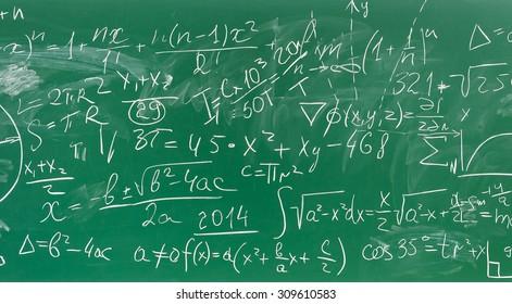 math formulas on green chalkboard