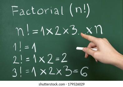 Math is fun - factorial examples written on blackboard