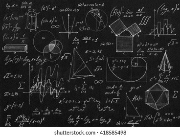 Math geometry formulas on black background.