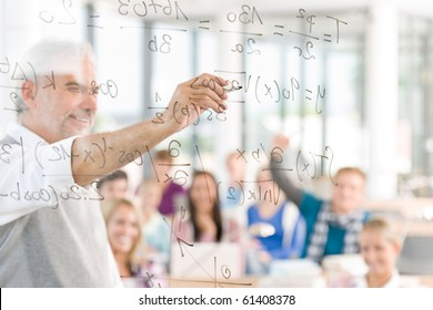 Math lesson at high school - students with professor in classroom