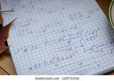 Math notes, logic notes (close-up)