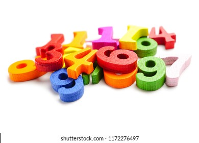 Math Number colorful on white background : Education study mathematics learning teach concept