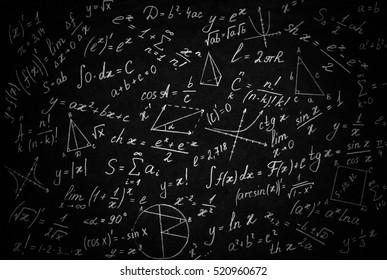 Math physics formulas on black background.