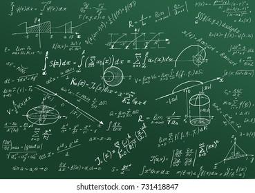 Math physics formulas and symbol on green background