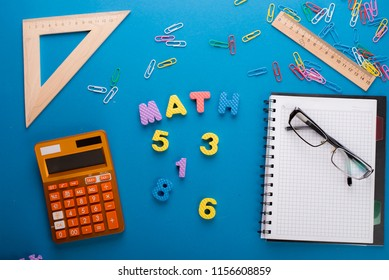 Math science concept with school lesson items