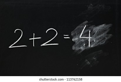 math simple equation on chalk board