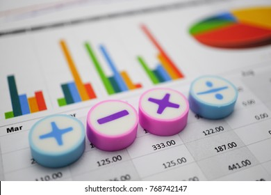 Math Symbols Charts Graphs paper. Financial Banking Accounting, Statistics, Investment Analytic research data, Stock exchange market trading, Mobile office reporting Business company meeting concept.