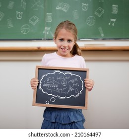 Math in thought bubble against cute pupil showing chalkboard