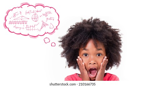 Math in thought bubble against shocked little girl