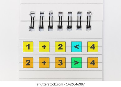 Math training with elementary mathematical operations and numbers comparison