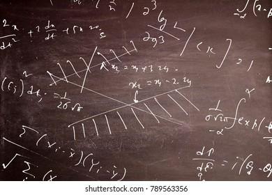 Mathematical equation on blackboard