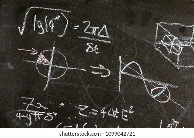 Mathematical equations on a blackboard