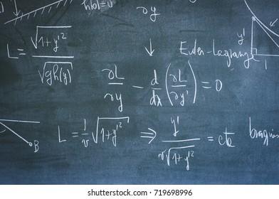mathematical formula on university blackboard, mathematics study