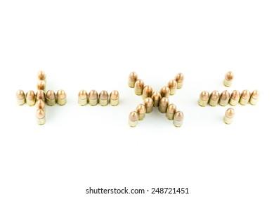 Mathematical Symbols made of cartridge