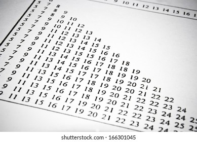 Mathematical tables in university textbook. Math education concept.