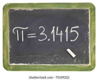 mathematics concept - the number pi on a small slate blackboard, isolated on white