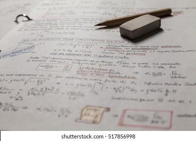 Mathematics, Equations , aerodynamics handwritten notes . Study icon