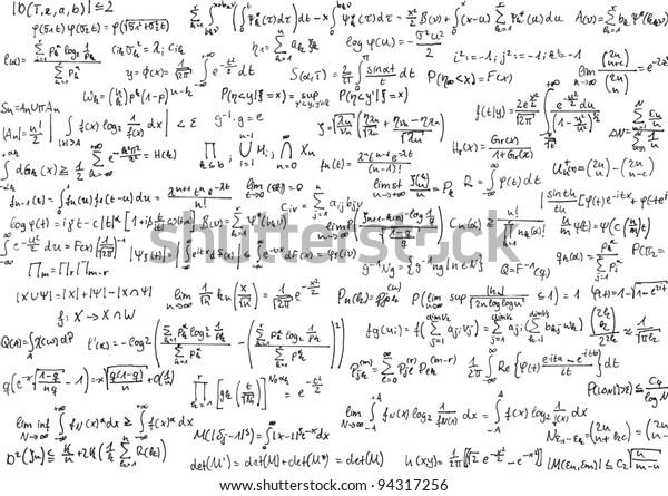 Mathematics equations on white
