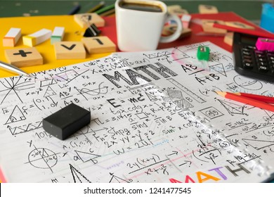 Mathematics Math Algebra Calculus Numbers Concept. School supplies used in math class, geometry or science. Mathematics geometry tool for student in math class