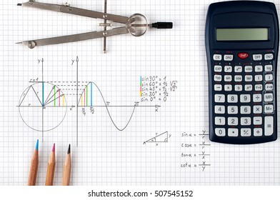 Mathematics, Sine function - calculator, compass and coloring pencils