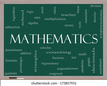 Mathematics Word Cloud Concept on a Blackboard with great terms such as fractions, algebra, calculus and more.