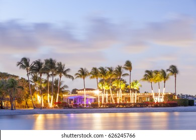 Matheson Hammock Park beach in Coral Gables illuminated at dusk. Miami, Florida, United States
