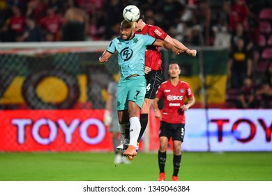 Matheus Alves no.7 (Green) of Prachuap F.C.in action The Football Thai League match between SCG Muangthong United and PT Prachuap F.C.at SCG Stadium on February24,2019 in Nonthaburi,Thailand