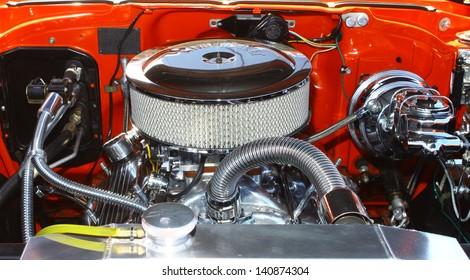 "MATHEWS, VA- JUNE 01:57 Chevy Belair engine in the Annual: Vintage TV's ""Chasing Pavement Vintage Automotive Festival"" in Mathews, Virginia on June 01, 2013"